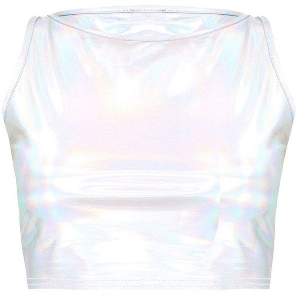 Silver Holographic Crop Top ($22) ❤ liked on Polyvore featuring tops, cut-out crop tops, holographic crop tops, white crop top, holographic top and cropped tops