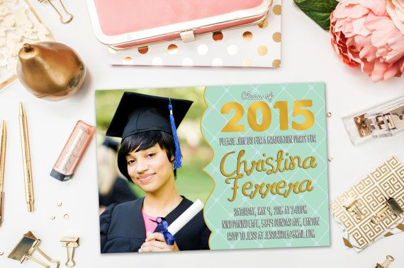Graduation Party Invitations / Gold and Mint Landscape, Photo / Party Invite for Graduate / Class of 2015, 2016 / Digital or Printed Cards