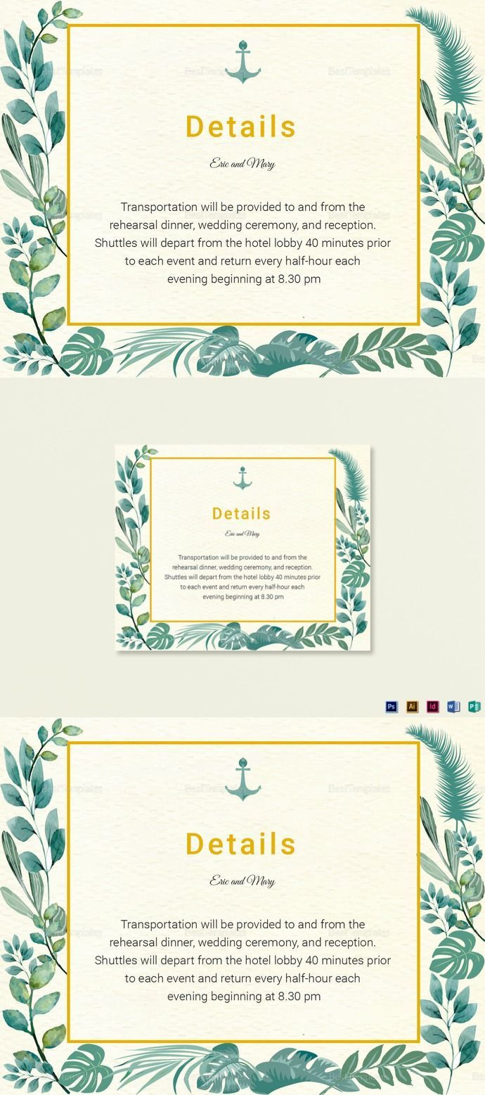 Nautical Wedding Details Card Template 12 Formats Included Illustrator Indesign Ms Word Photoshop P Wedding Details Card Nautical Wedding Wedding Details