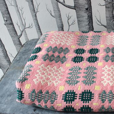 vintage welsh tapestry blanket, and a touch of Woods wallpaper.