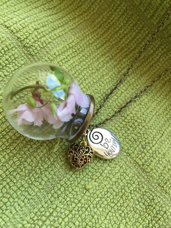 Real Flower Glass Globe Pendant with Charms by StarseedCrystalShop