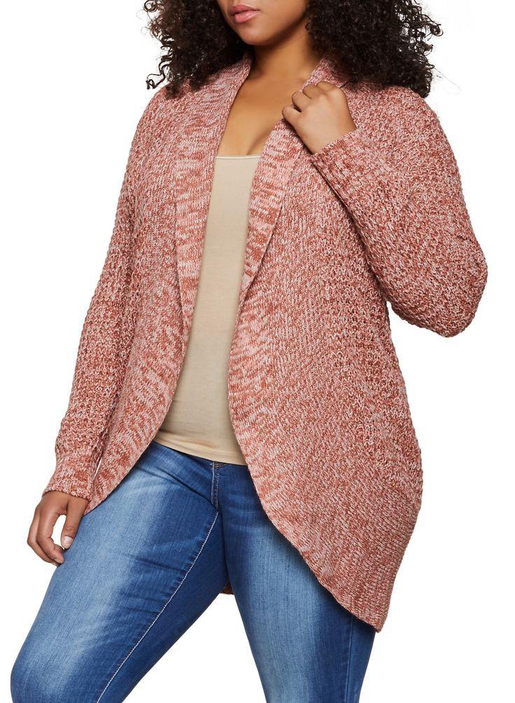Plus Size Knit Marled Cardigan – Pink – Size 3X