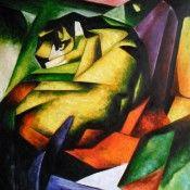 Der Tiger - Franz Marc Reproduktions Gemälde von www.paintify.de in der Größe 90x90cm #paintify #Kunst #Dekoration #Franz_Mark #shopping #handgemalt  #Gemaelde #Oelgemaelde #Foto  #Reproduktionen #Alte_Meister #Geschenk #personalisierte #Geschenke #Geschenkidee #Geschenkideen #historisch #Tiere #Animals
