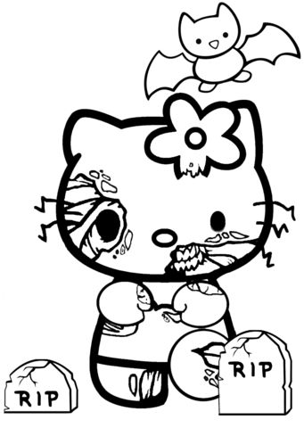 Hello Kitty Halloween Zombie Coloring page