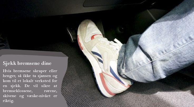 Få sjekket bremsene  En av de viktigste tingene å gjøre er å sikre at bremsene er i god stand. Med alle kilometrene du har tenkt å kjøre, så trenger du et bremse-system som er i orden. #piggfriedekkene