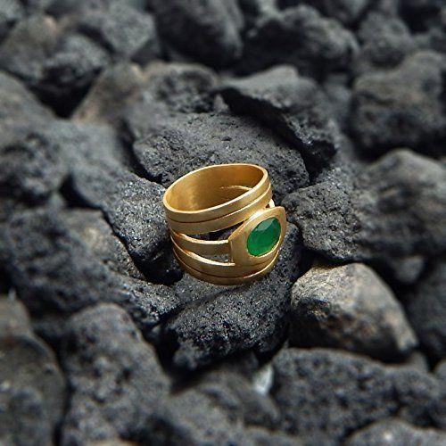 22k Yellow Gold Plated Handmade Green Onyx Gemstone Rings... https://www.amazon.com/dp/B01MY3GZBI/ref=cm_sw_r_pi_dp_x_CtLzyb788X8EA