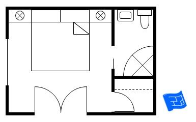 A master bedroom floor plan with larger corner bathroom and small walk-in closet.  Not much closet space!Click through to the site to read more on master bedroom floor plan design.