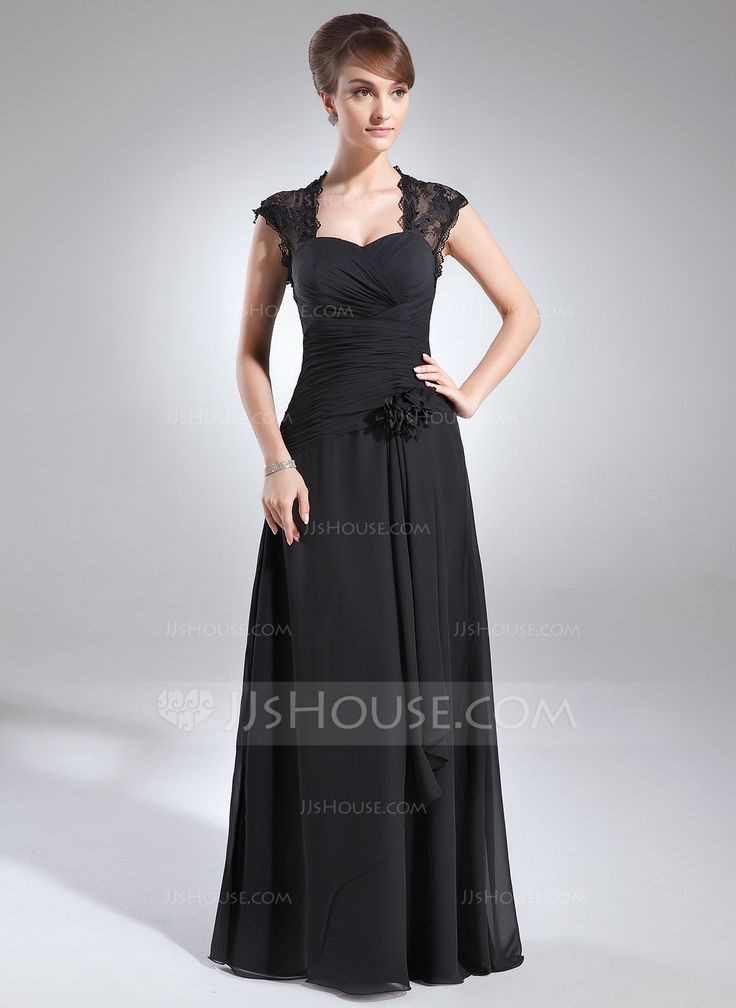 A-Line/Princess Sweetheart Floor-Length Chiffon Lace Mother of the Bride Dress With Ruffle Beading Flower(s) (008006153) - JJsHouse