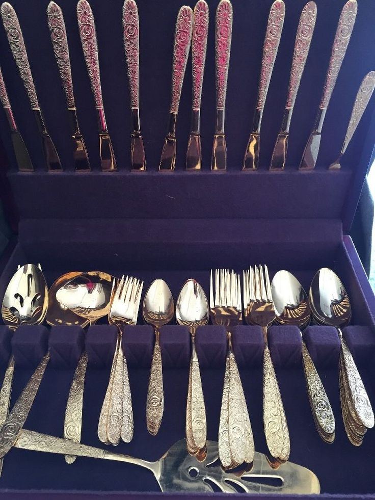 Vintage Stanley Roberts BOUQUET Gold Tone Flatware Set 59 Pieces Forks Spoons Ec #StanleyRoberts