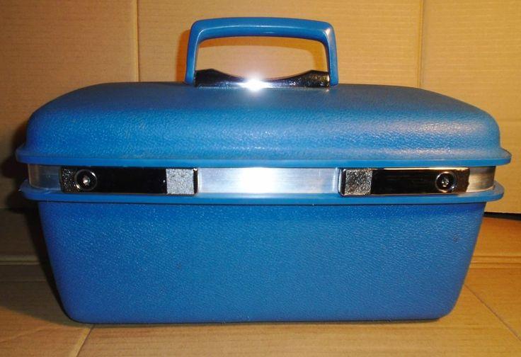 Vtg Samsonite Train Hard Case Blue Suitcase Luggage Makeup Case w/ Key & Tray #SamsoniteSaturnII