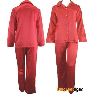 Fiery red satin pyjamas pj's, great for those winter nights. Wide cuffs on both pants and shirt. Beautifully made, you won't want to take these off.