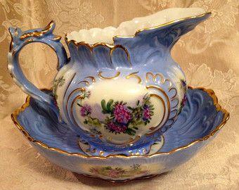 Limoges Porcelain Wash Basin and Pitcher Set, Blue Victorian Pitcher and Bowl. https://img0.etsystatic.com/134/1/11160837/il_340x270.995855666_2xct.jpg