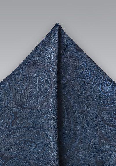 Einstecktuch Paisley italienische Seide marineblau rauchblau