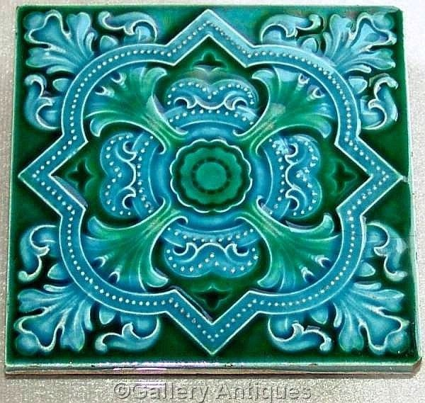 Sold RARE art nouveau CLEVELAND TILE CO aesthetic MAJOLICA blue and green TILE c1905
