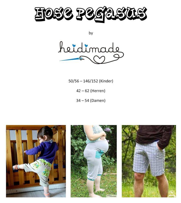 Freebook Hose Pegasus - Jogginghose (kurz oder lang) für Kinder 50 - 152, Damen 34 - 54, Herren 42 - 62 + eine Schwangerenversion