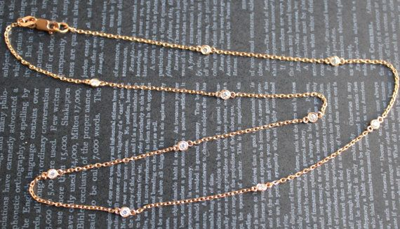 Petite Diamonds By The Yard Bezel Necklace in 14K Rose Gold. $995.00, via Etsy.