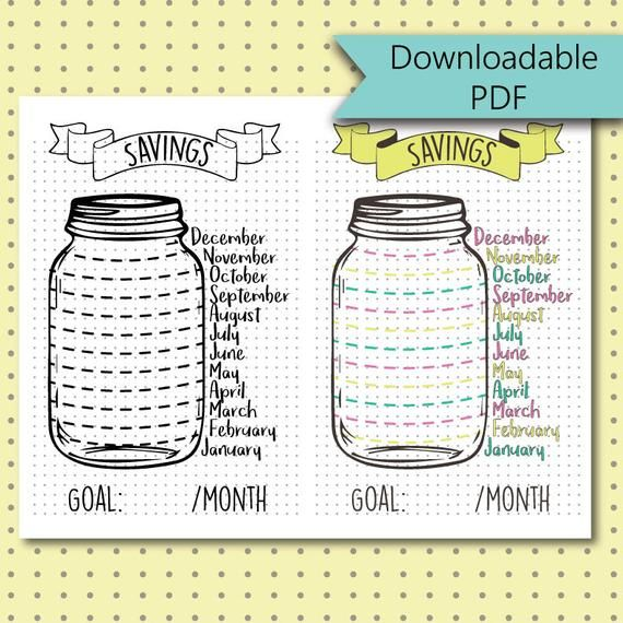 Bullet Journal Stickers – Savings Jar – Savings Tracker Page – Stickers Downloadable PDF – For A5 Si