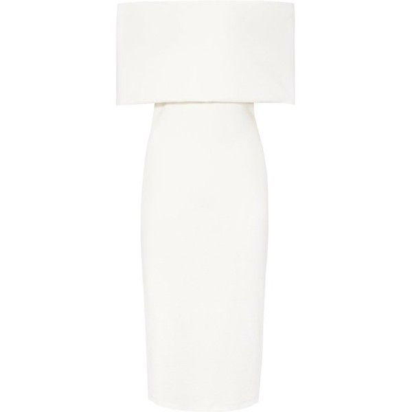 RAFFERTY OFF-THE-SHOULDER BODYCON DRESS (9,675 MXN) ❤ liked on Polyvore featuring dresses, white off the shoulder dress, white body con dress, off the shoulder bodycon dress, body con dress and white colour dress