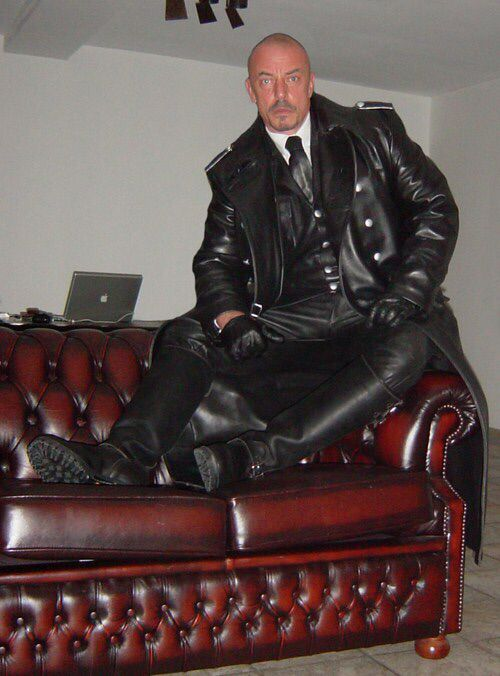 Hot German in Full Leather Kit   Men on Leather Furniture  GC  Tall leather boots Leather
