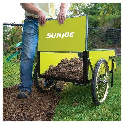 Sun Joe 7 Cubic Foot Heavy Duty Garden + Utility Cart - Green