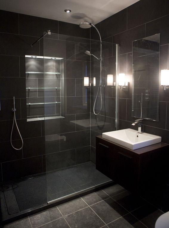 Black Tiled Bathroom Pinteres