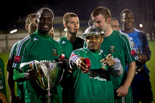 Hendon FC celebrate their London Senior Cup win over Kingstonian