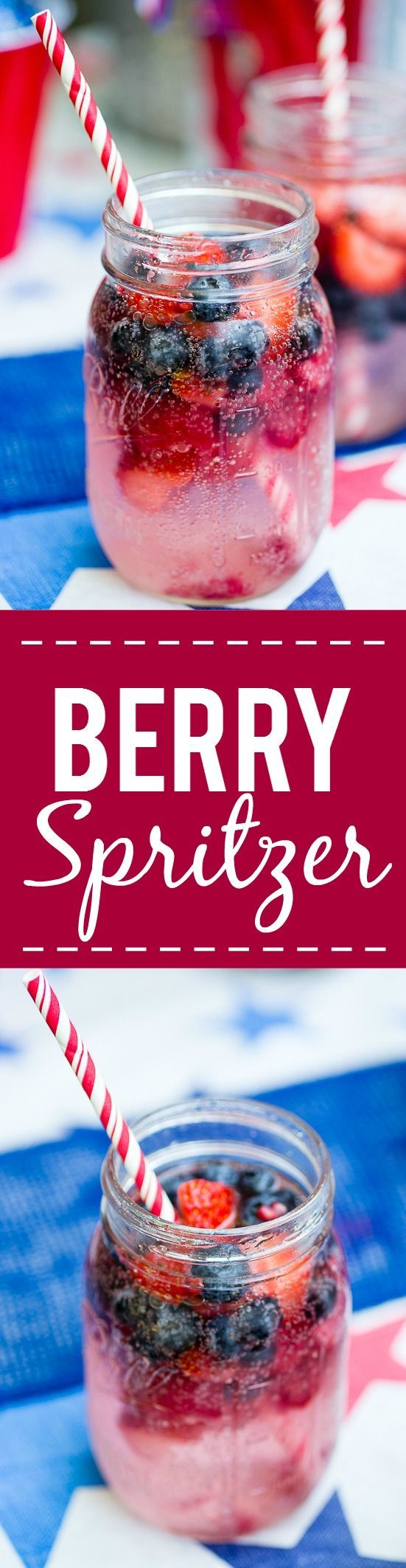 Patriotic Berry Spritzer - Fresh and full of sweet berries, this Berry Spritzer is a pretty and refreshing beverage that's patriotic too! Perfect for any occasion and using up ripe Summer berries! Yum