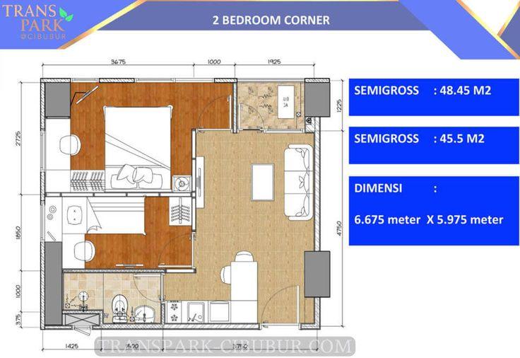 Tipe 2 BR Corner apartemen TransPark Cibubur.