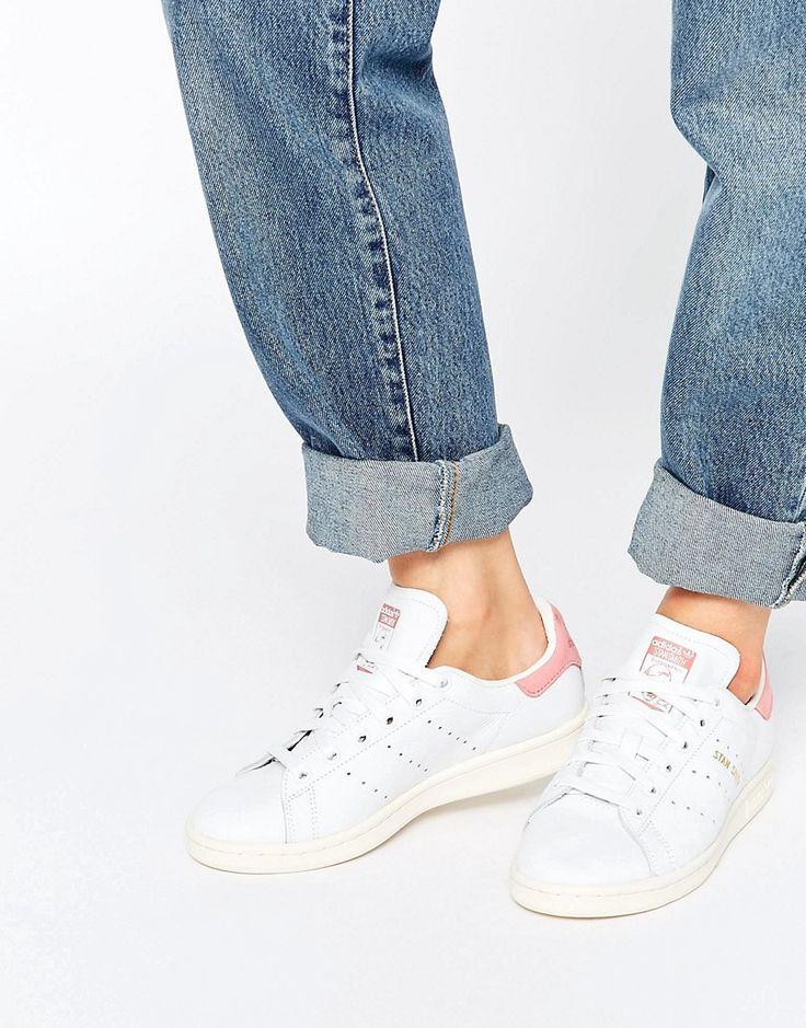 Zapatillas de deporte en blanco y rosa Stan Smith de adidas Originals