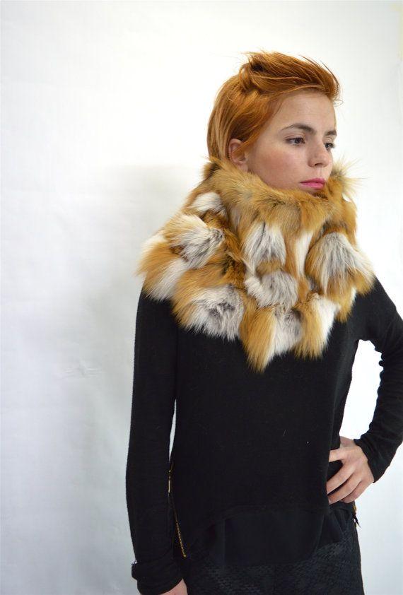 Real fur collar red fox fur cowl fur collar loop fur by BeFur