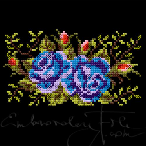 Roses II C. Cross stitched roses, smaller version of Roses II B. The design is made of 2.3 mm double crosses. Combine with Roses I, Roses II A and Roses II B.