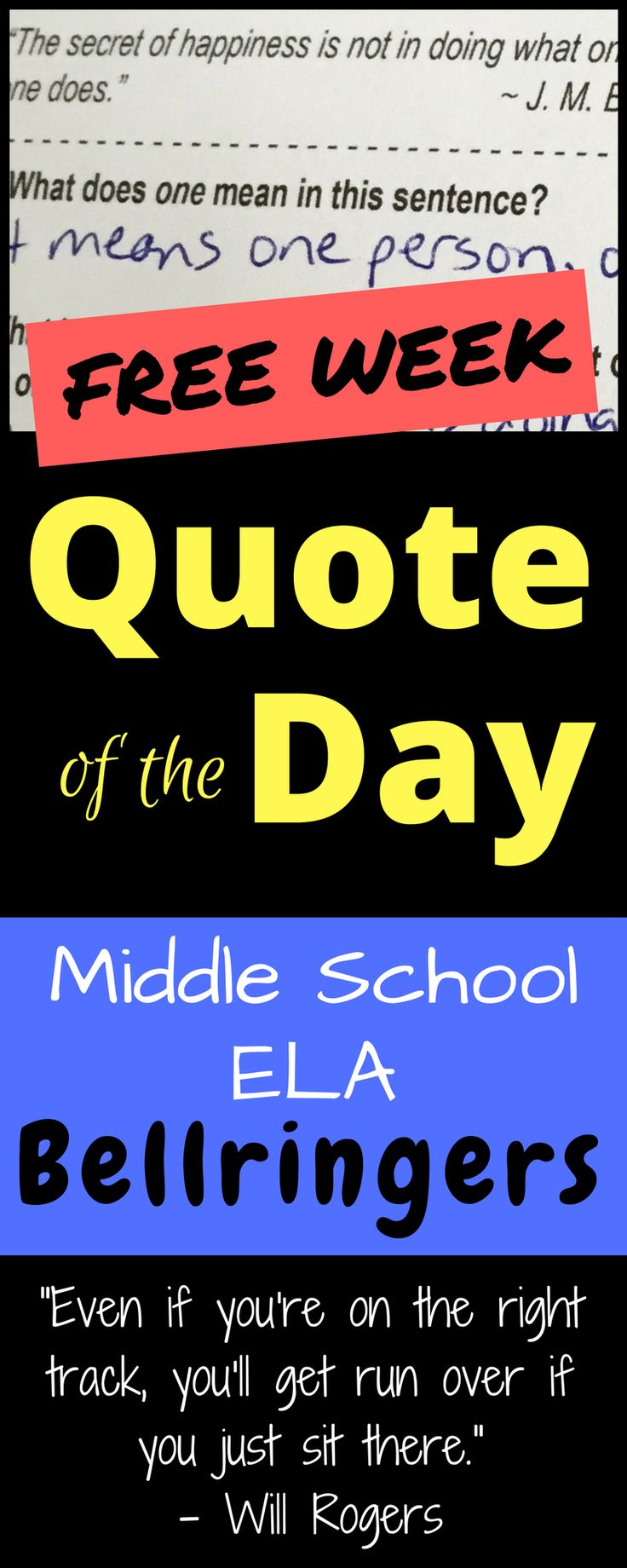 """FREE sample week of """"Quote of the Day"""" bellringers! You'll get five inspirational quotations along with analysis questions covering inference, context clues, figurative language, and more vital reading skills."""