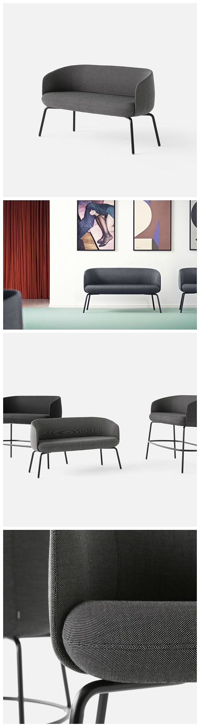 The +HALLE Low Nest Sofa from is a soft and comfortable sofa that suits the needs of a large variety of public spaces.