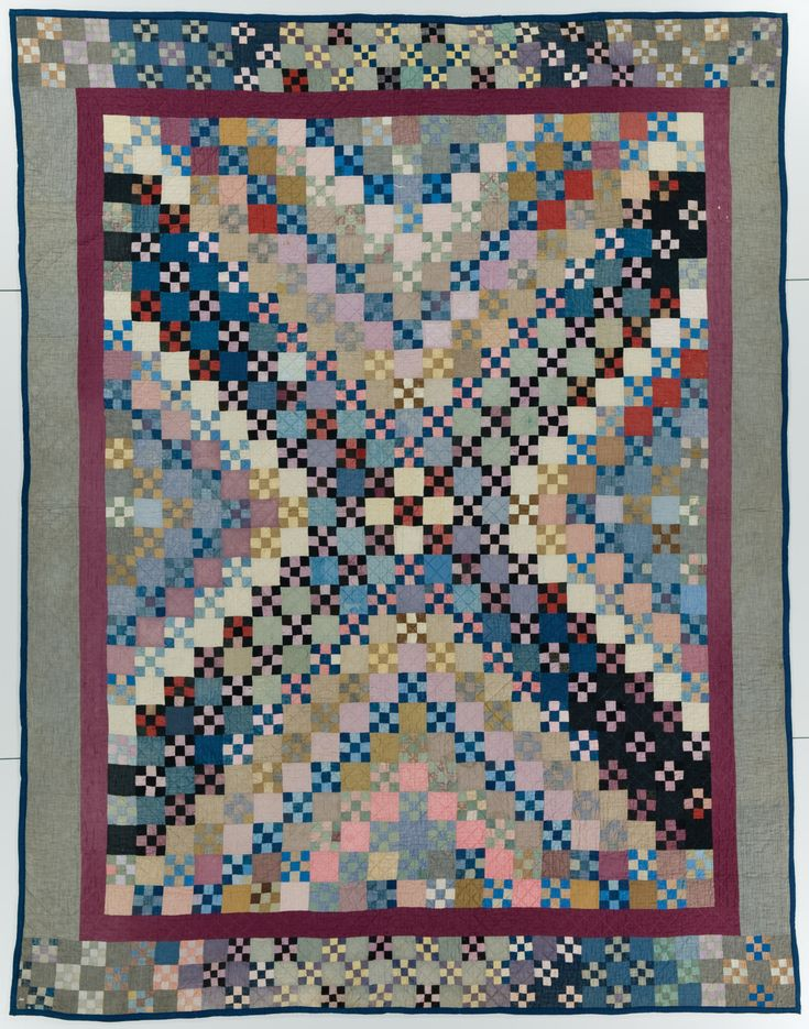 Nine Patch quilt, Made by Barbara Yoder (1885-1988) Circa 1920, Made in Weatherford, Oklahoma, Machine pieced, hand quilted. International Quilt Study Center & Museum, University of Nebraska – Lincoln; Gift of the Robert & Ardis James Foundation, 2005.039.0005 . From the exhibit, Amish Quilts and the Crafting of Diverse Traditions opening October 7, running through January 25, 2017. Curated by Janneken Smucker.