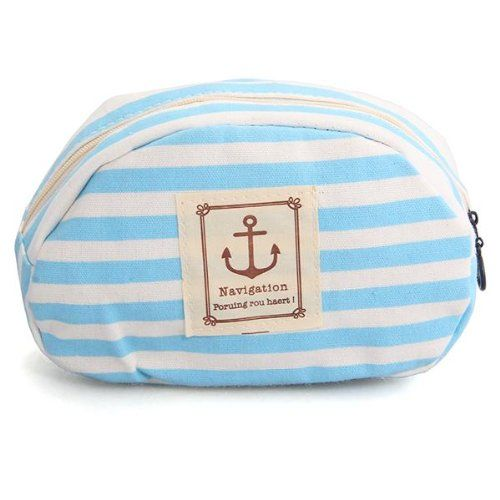 VSEN Hot Blue nylon striped pencil rules cosmetic makeup pouch bag