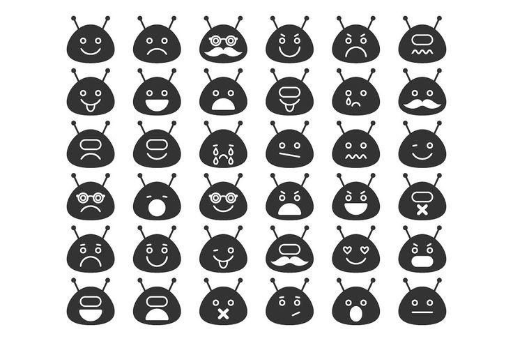 Space Alien Emoticons by Elena Pronenko on @creativemarket