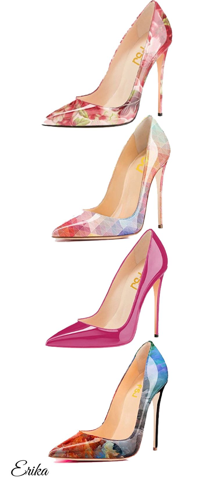 FSJ Women Fashion Pointed Toe Pumps High Heel Stilettos Sexy Slip On Dress Shoes
