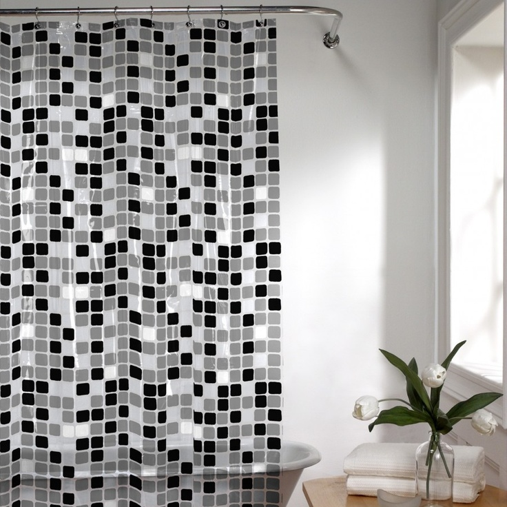 Maytex Tiles Vinyl Shower Curtain In Black