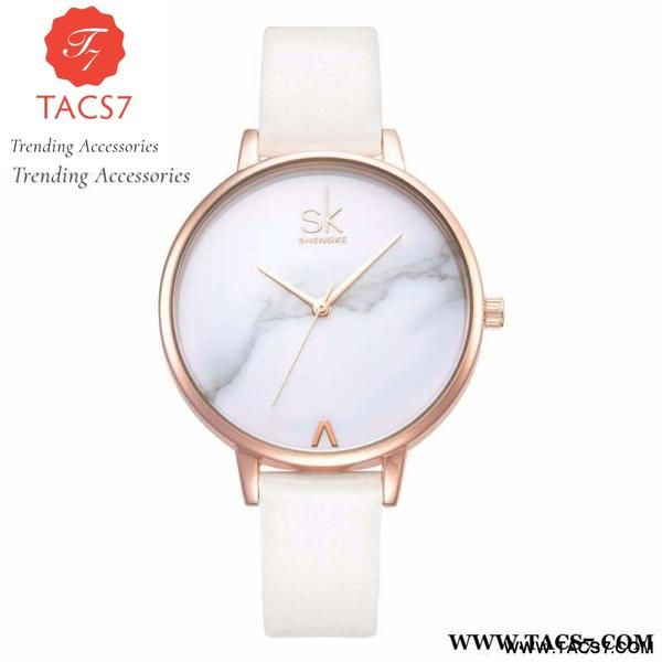 Fashion Ladies White Marble Watch