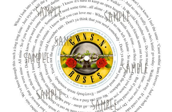 Guns n Roses November Rain Retro VINYL SONG SINGLE Print