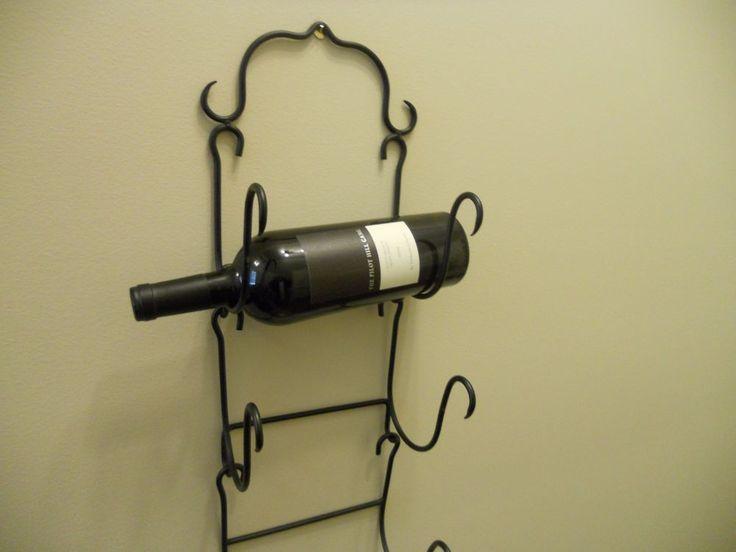 Wine Bottle Rack Holder Wall Mounted Wrought Iron Black - Holds 3 Bottles