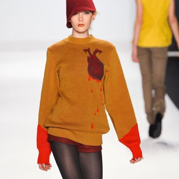 Bleeding Heart Sweater by Michelle Lesniak Franklin - Project Runway: Season 11 Finale Collection #MichelleLesniakFranklin #projectrunway #sweater: Sweaters, Fashion, Runway Season, Michelle S Bleeding, Projectrunway Sweater, Project Runway Dresses, Bleeding Hearts, Heart Sweater