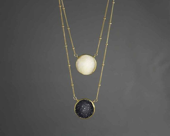 Summer 20 off. Sun and Moon Layered Druzy by MimsyBorogroveDesign