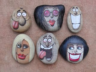 PedraBrasil: Pedras pintadas - painted rocks... funny cartoon faces