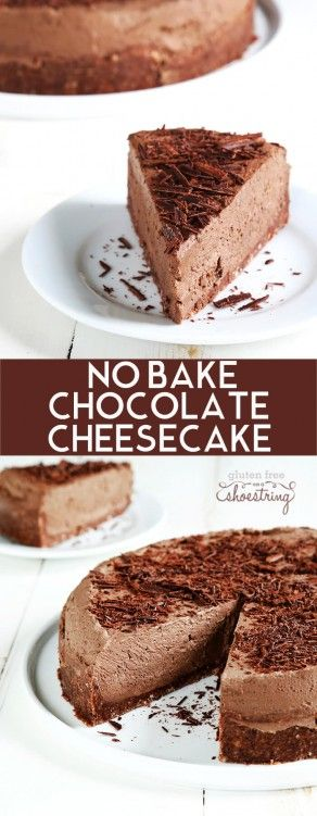 A light and fluffy, mousse-like no bake gluten free chocolate cheesecake that isn't too rich or too sweet—and can be made with or without a simple cookie crumb crust. Make it tonight, just because! http://glutenfreeonashoestring.com/gluten-free-no-bake-chocolate-cheesecake/