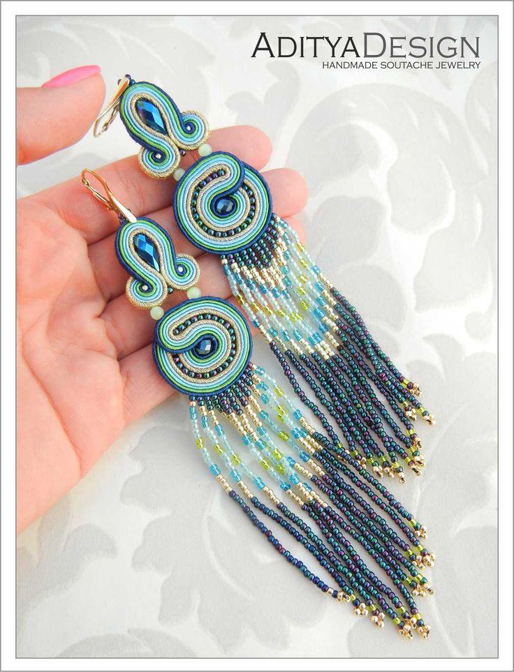 Soutache Earrings Tassels, Blue Gold, Blue Earrings, Statement Jewelry, Dangling Earrings, Long Earrings, Beaded Earring