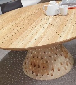 Simple Wooden Table With Interesting Holes Pattern   Colino Table