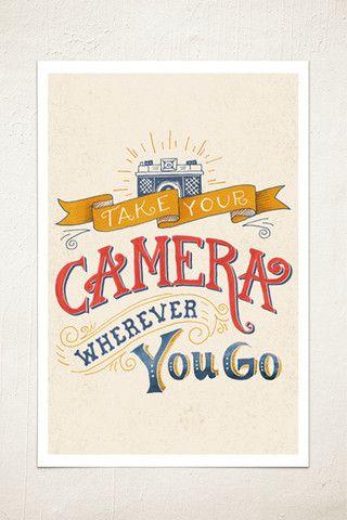 Take Your Camera Wall Print - vintage camera