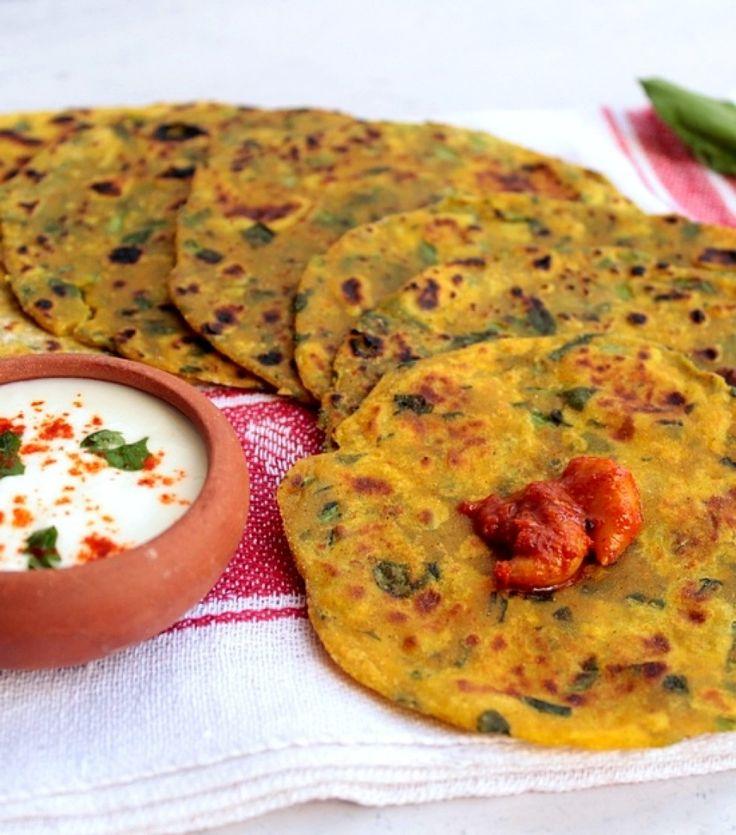 Thepla di spinaci, pani indiani alla santoreggia