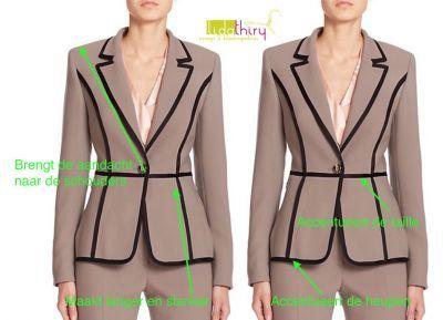 Trucjes om je lichaam voor het oog in balans te brengen. De binnenlijnen van een kledingstuk - www.lidathiry.nl